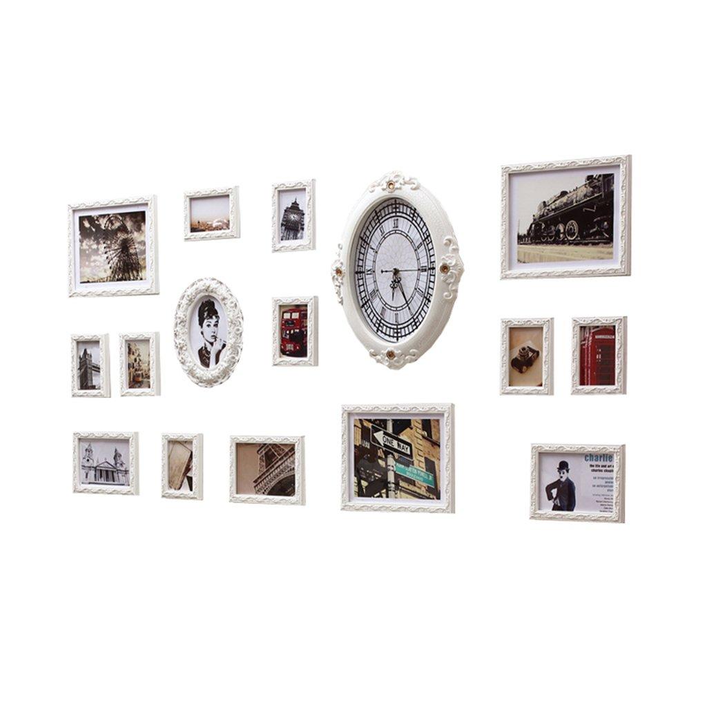 Unbekannt Deko fürs Babyzimmer Wand-Weißfotowandkombination der festen hölzernen europäischen unregelmäßigen Taktgeberrahmenwand Wohnaccessoires & Deko (Color : Weiß)