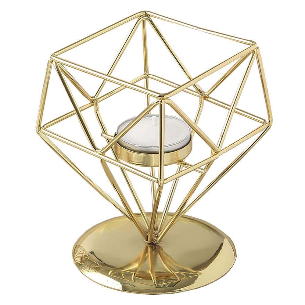 Fashion Craft 8765 Gold Geometric Design Tea Light/Votive Candle Holder Yellow