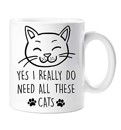 Gato Sí i Really Do Need All These Gatos Taza Mascota Regalo Gato Gatito Frase Amigo