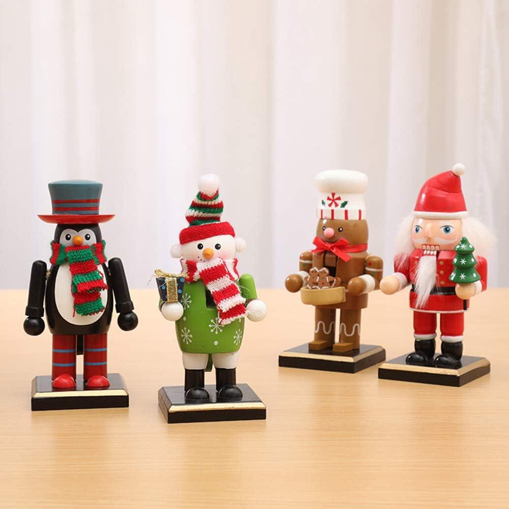 Santa Claus//Snowman//Penguin//Gingerbread Man Nutcracker Figures Toy Nutcracker Puppet for Kids BESTCZ Christmas Nutcracker Home//Desktop//Christmas Decoration Christmas Wooden Nutcracker Ornaments