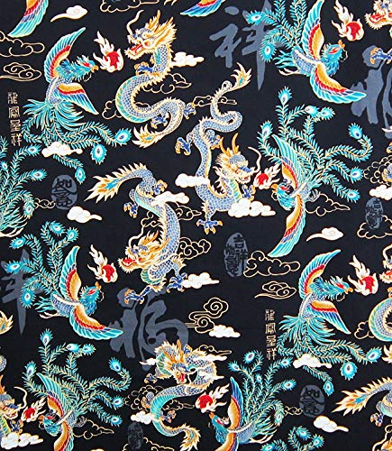 Mythical Chinese Dragon & Phoenix - Black Asian Japanese Fabric for Quilts, Apparel, Home Dec Accessories - BTY