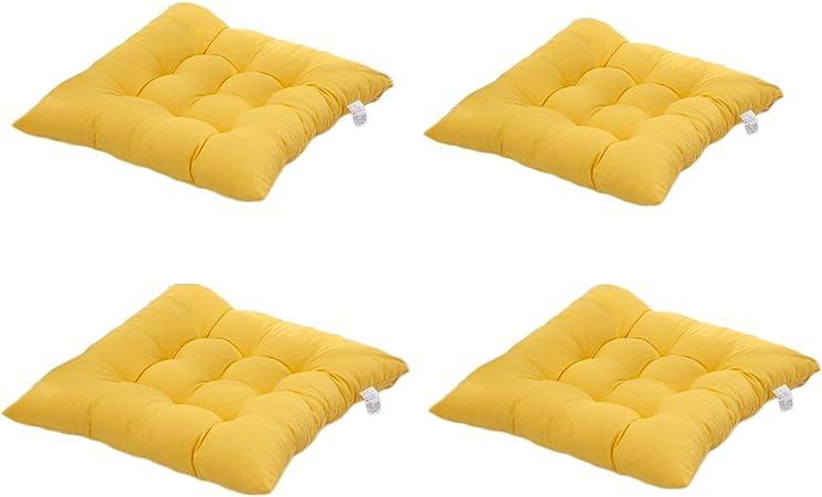 4 cómodos cojines para silla,Worsendy cojines de silla exterior,cojines de terraza,cocina de jardín Cojines de silla de comedor 40x40 cm Crema Cena silla Pad (Amarillo): Amazon.es: Hogar