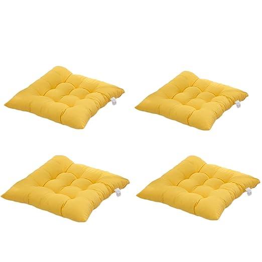 4 cómodos cojines para silla,Worsendy cojines de silla exterior,cojines de terraza,cocina de jardín Cojines de silla de comedor 40x40 cm Crema Cena ...