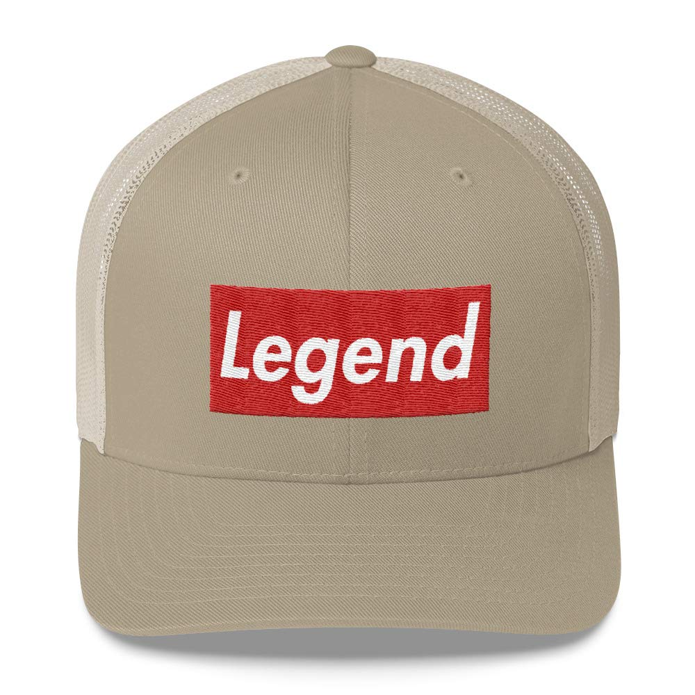 b718ecf9 Amazon.com: Hogue WS LLC Legend Hat (Supreme Box Logo Style) Trucker Cap: Hogue  WS LLC: Clothing