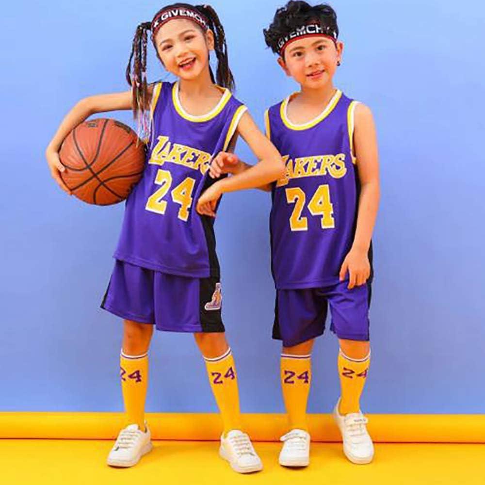 Kids Los Angeles Lakers 24# Kobe Bryant Basketball Jersey Suit ...