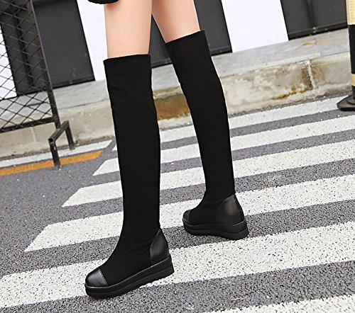 Carolbar Mujeres Comfort Platform Knee High Fashion Riding Botas Altas Negro