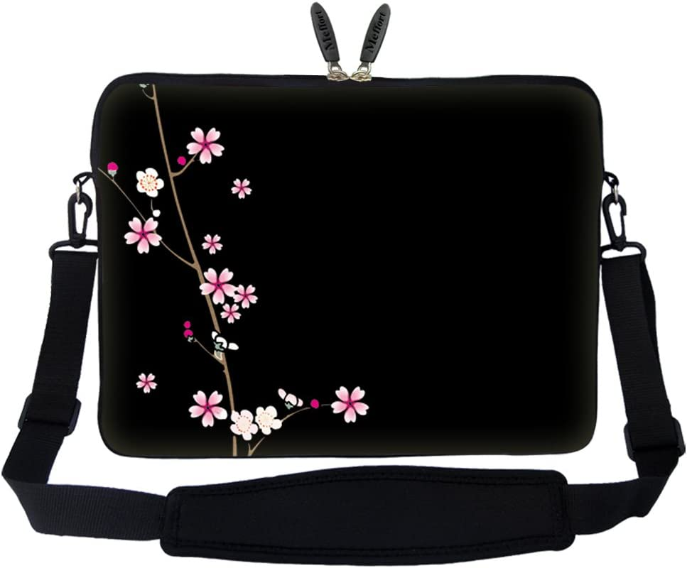 Meffort Inc 15 15.6 inch Neoprene Laptop Sleeve Bag Carrying Case with Hidden Handle and Adjustable Shoulder Strap - Plum Blossoms Design