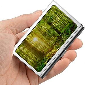 Professional Metal Business Card Sunbeams Shining Through Natural Forest Beech Holder Pocket Business Card Case Slim Business Card Carrier Business