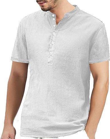 Aberimy Camisetas Hombre Manga Corta Algodón Lino Verano Camiseta T-Shirt Moda Cuello Redondo Casual Tirantes Fitness Deportiva Camisetas Deporte Sudadera Camisa T-Shirt Camisetas para Hombre: Amazon.es: Amazon.es