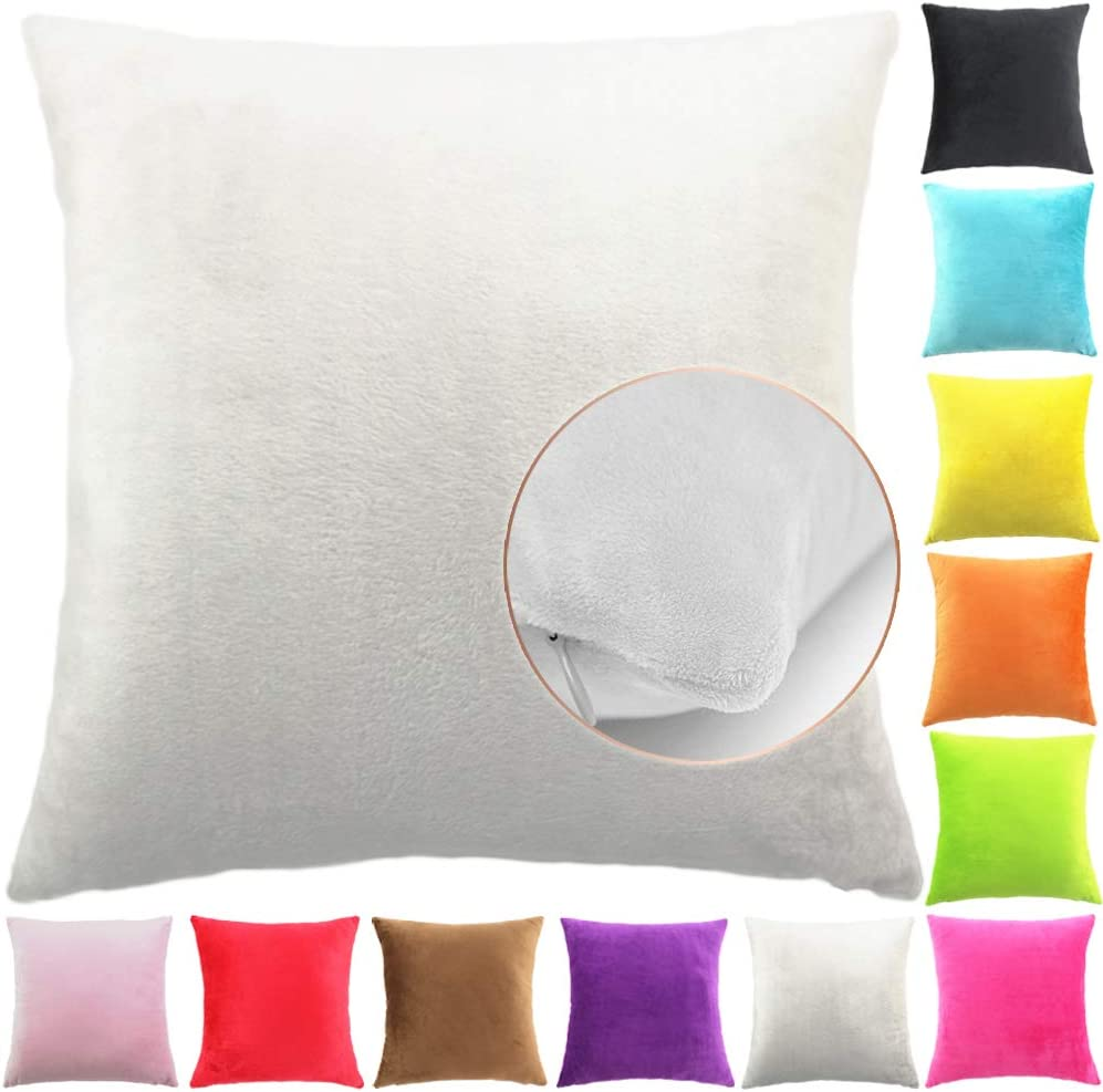 Easondea Fundas de Cojín de Color sólido Square Decorativos para Sofá Cama Coche Fundas Cojines Funda de Almohada Crema 40X60CM
