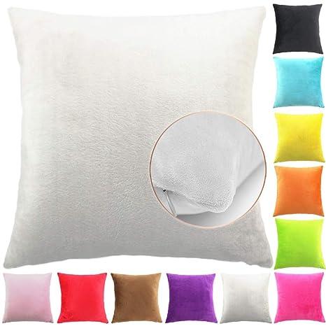 Easondea Fundas de Cojín de Color sólido Square Decorativos para Sofá Cama Coche Fundas Cojines Funda de Almohada Crema 65X65CM