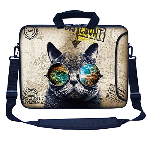 Meffort Inc 15 15.6 inch Neoprene Laptop Bag Sleeve with Extra Side Pocket, Soft Carrying Handle & Removable Shoulder Strap for 14 to 15.6 Size Notebook Computer - Cool Cat