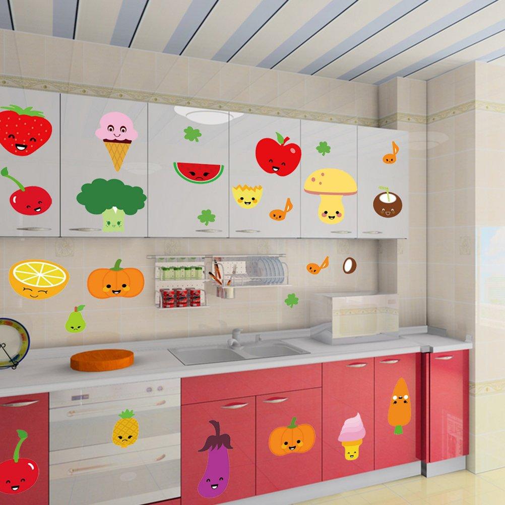 VORCOOL Adesivi murali rimovibili Adesivi murali di frutta e verdura per cartoni animati Sfondi in vinile per cucina da cucina 45 x 60 cm