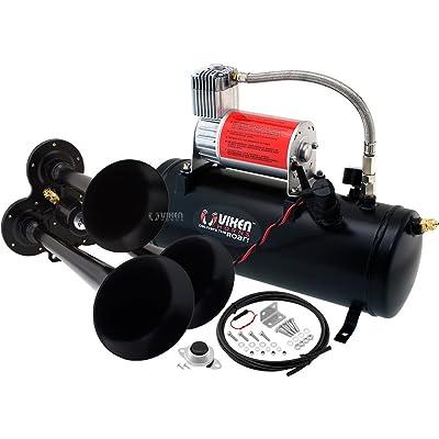 Vixen Horns Train Horn Kit for Trucks/Car/Semi. Complete Onboard System- 150psi Air Compressor, 1.5 Gallon Tank, 3 Trumpets. Super Loud dB. Fits Vehicles Like Pickup/Jeep/RV/SUV 12v VXO8530/3114B: Automotive