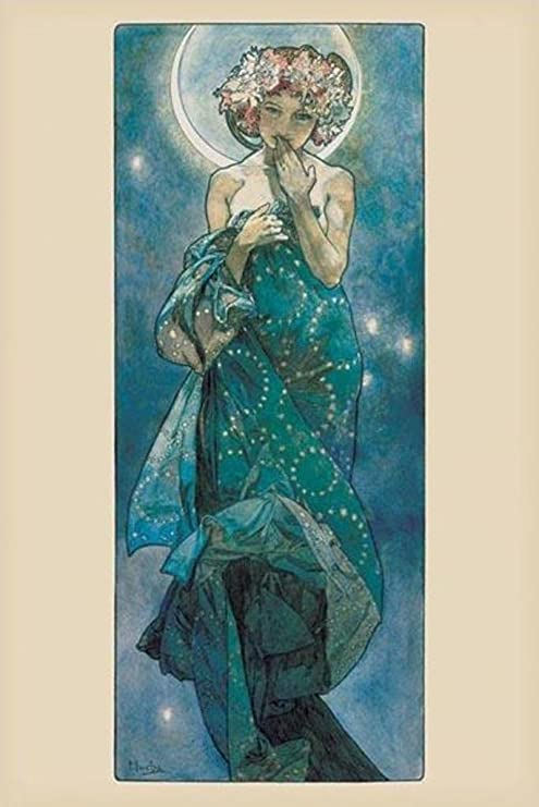 Image result for mucha moon and stars