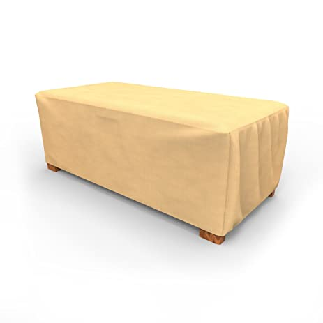 Awesome Budge All Seasons Slim Patio Ottoman Cover / Coffee Table Cover, Medium (Tan