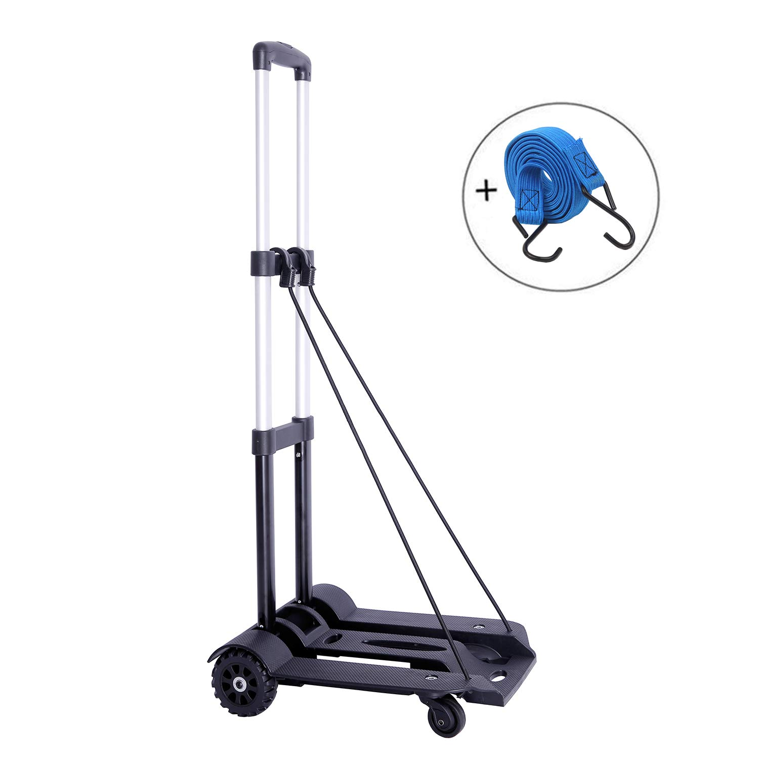 Portable Folding Hand Truck, 75 Kg/165 lbs Heavy Duty 4-Wheel-roate Solid Construction Compact and Lightweight Utility Hand Cart for Luggage, Travel, Auto, Moving and Office Use (4 Wheel-roate)