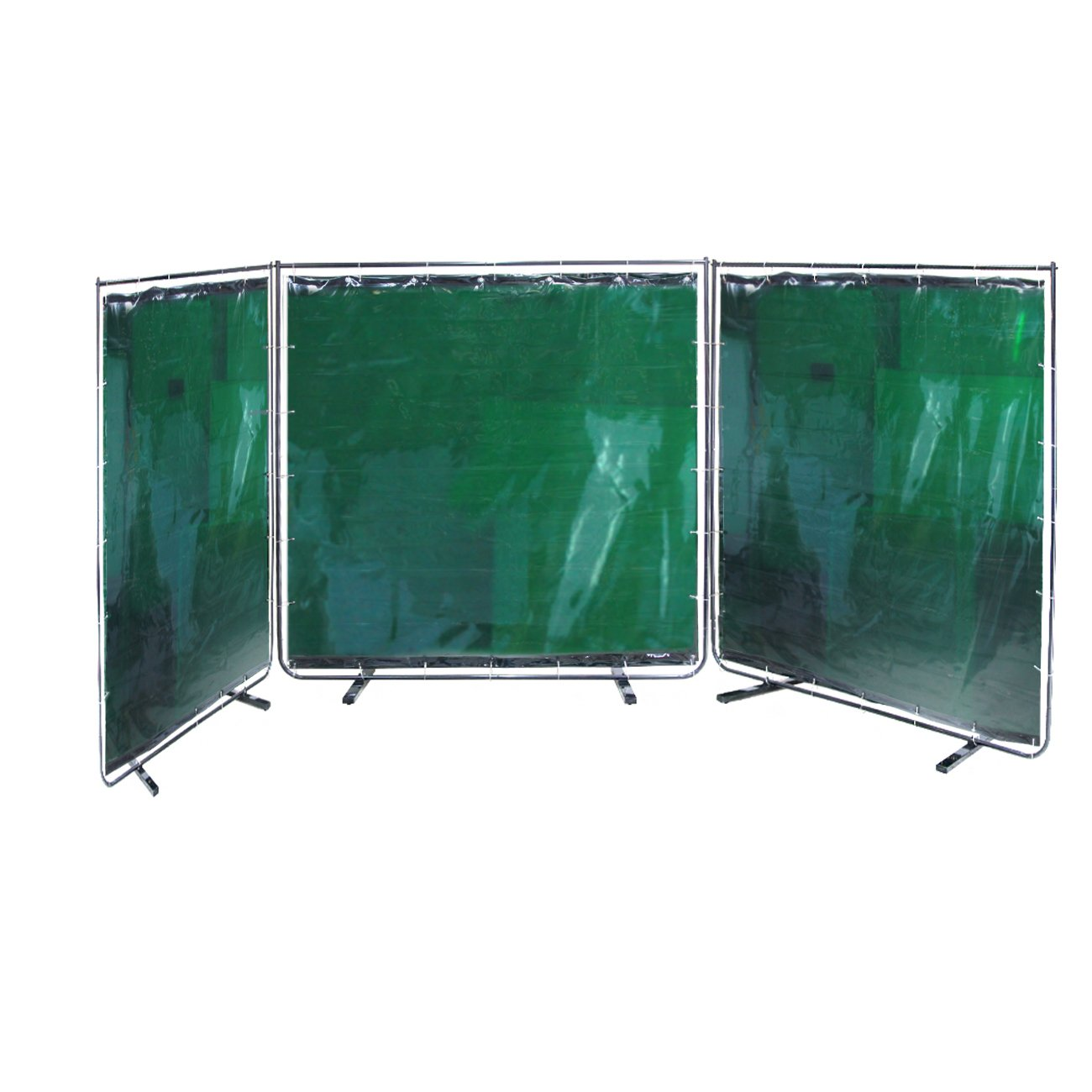 VIZ-PRO 3 Panel Green Vinyl Welding Curtain / Welding Screen With Frame, 6' x 6'