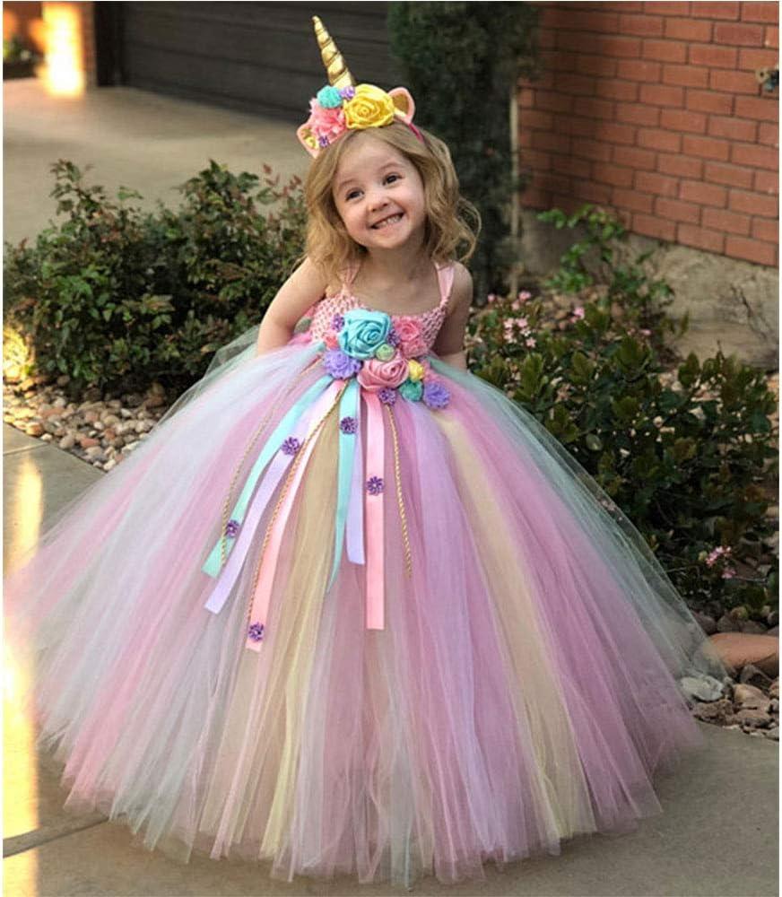 QYS Vestido de la Princesa cumpleaños del Unicornio Vestido de ...
