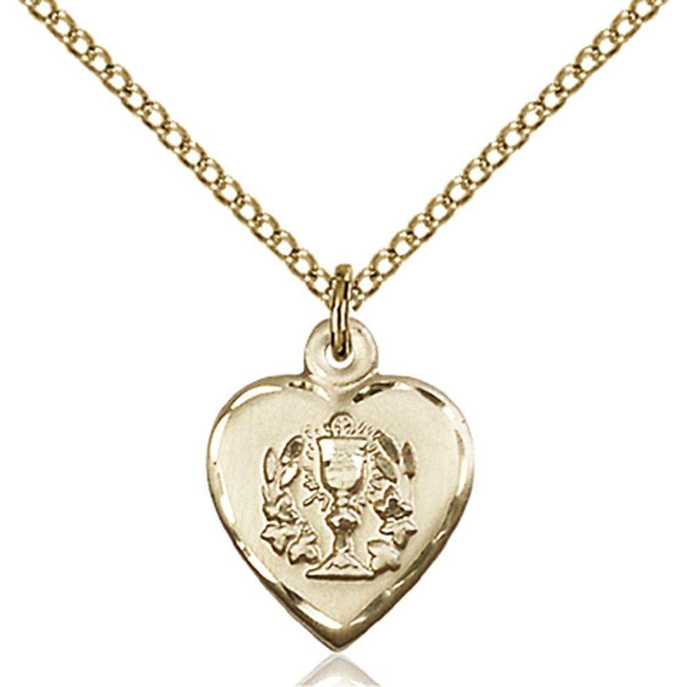 Gold Filled Heart / Communion Pendant 5/8 x 1/2 inches with Gold Filled Lite Curb Chain Bliss Manufacturing 0892GF/18GF