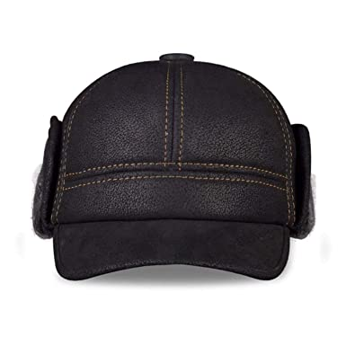 95a18fdd7b1 Tellusa Men s Genuine Leather Baseball caps Hats Faux Fur Winter ...