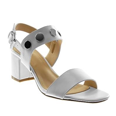 Angkorly - Chaussure Mode Sandale Escarpin lanière Cheville Femme lanière  clouté Talon Haut Bloc 7 CM 3bf1513c4b3