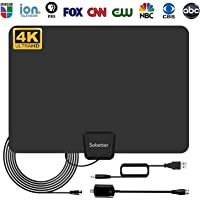 TV Antenna - Digital HD TV Antenna 50-80 Miles Range Compatible 4K 1080P Free TV Channels,with Powerful Detachable Amplifier Signal Booster,Longer Coax Cable for All TVs [2018 Upgraded]