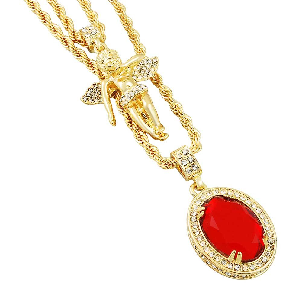 Gold-Tone Iced Out Hip Hop Bling 2 Piece Micro Angel and Red Round Solitaire Pendant Rope Chain Set