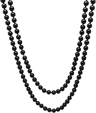 8mm Beads 60 inch Long Strand Pearl Necklace White Color