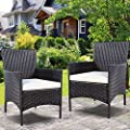 TANGKULA 2 Pcs Patio Armchair Rattan Single Chair Set Outdoor Modern Wicker Rattan PE Furniture Sofa Set W/Cushions Brown …