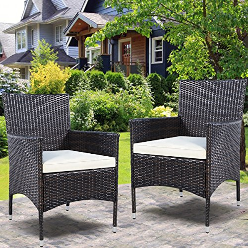 TANGKULA 2 Pcs Patio Armchair Rattan Single Chair Set Outdoor Modern Wicker Rattan PE Furniture Sofa Set W/Cushions Brown … (brown) (Plastic Patio Arm Chair)