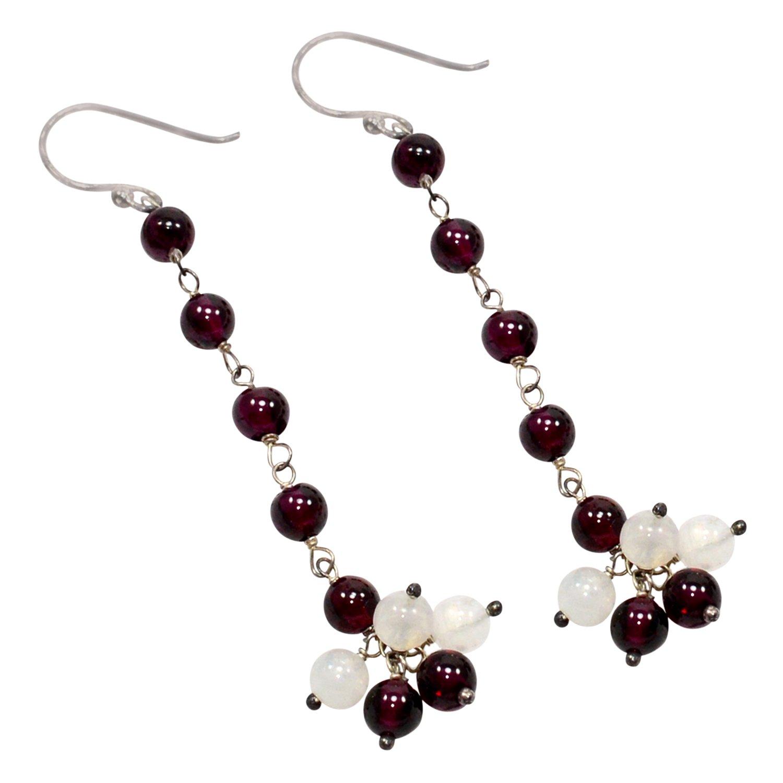 Silvestoo Jaipur Rainbow Moonstone /& Rhodolite Garnet Gemstone 925 Sterling Silver Earring PG-105360