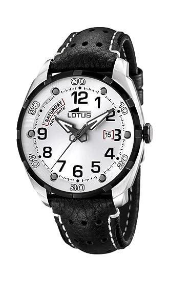 Lotus 15645-1 - Reloj analógico de cuarzo para hombre con correa de piel, color negro: Lotus: Amazon.es: Relojes