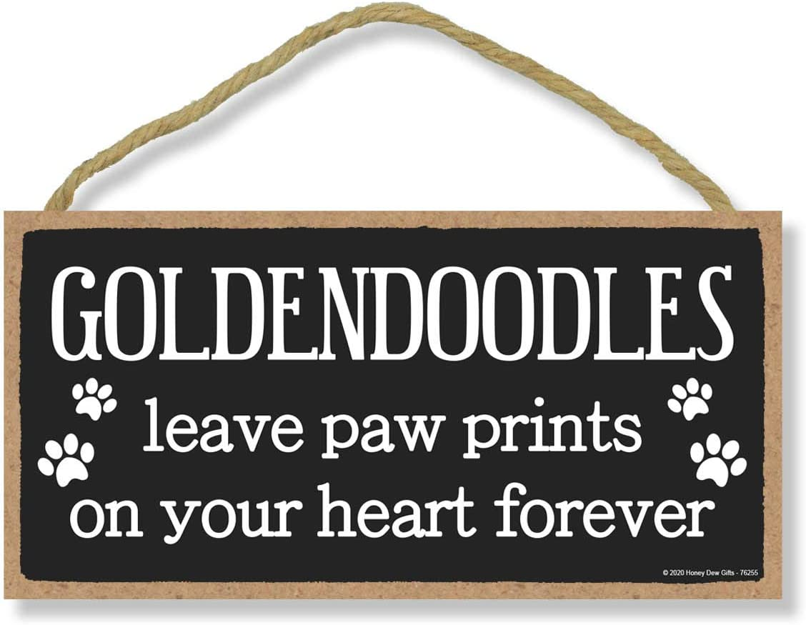 Honey Dew Gifts Goldendoodles Leave Paw Prints, Wooden Pet Memorial Home Decor, Decorative Dog Bereavement Wall Sign, 5 Inches by 10 Inches