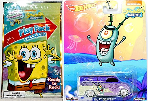 SpongeBob Play Pack + Hot Wheels Dairy Delivery Set Nickelodeon Collectible Pop Culture Real Rider Cars stickers crayons coloring activity book (Cars Hot Wheels Stickers)