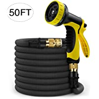 ERAY Expandable Garden Hose, 50 Feet Durable and Lightweight Retractable Water Hose Kit for Car Wash Cleaning Heavy Duty, Water Gun 10 Mode High Pressure Sprayer Nozzles, with Plastic Hanger and Free Storage Bag