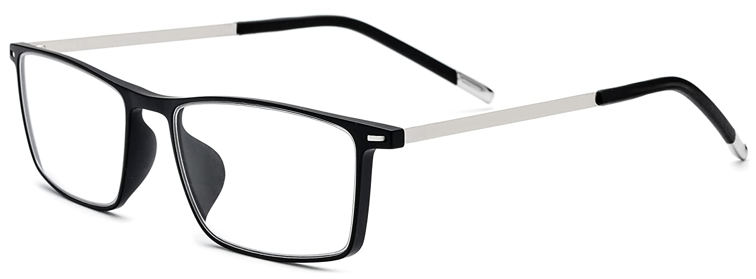 91e08c2792 FONEX Men Titanium Alloy TR90 Square Optical Prescription Glasses Frame  Eyewear 523 (Black Silver) at Amazon Women s Clothing store