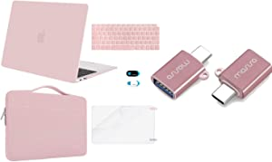 MOSISO Plastic Hard Shell&Sleeve Bag&Keyboard Cover&Webcam Cover&Screen Protector&USB Type-C Adapter Compatible with MacBook Air 13 inch Retina