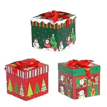 BESTOYARD Decoraciones navideñas de Dibujos Animados de Cajas de Dulces de Papel Cuadrado de Caja hogar Tienda 3pcs (tamaño pequeño): Amazon.es: Hogar