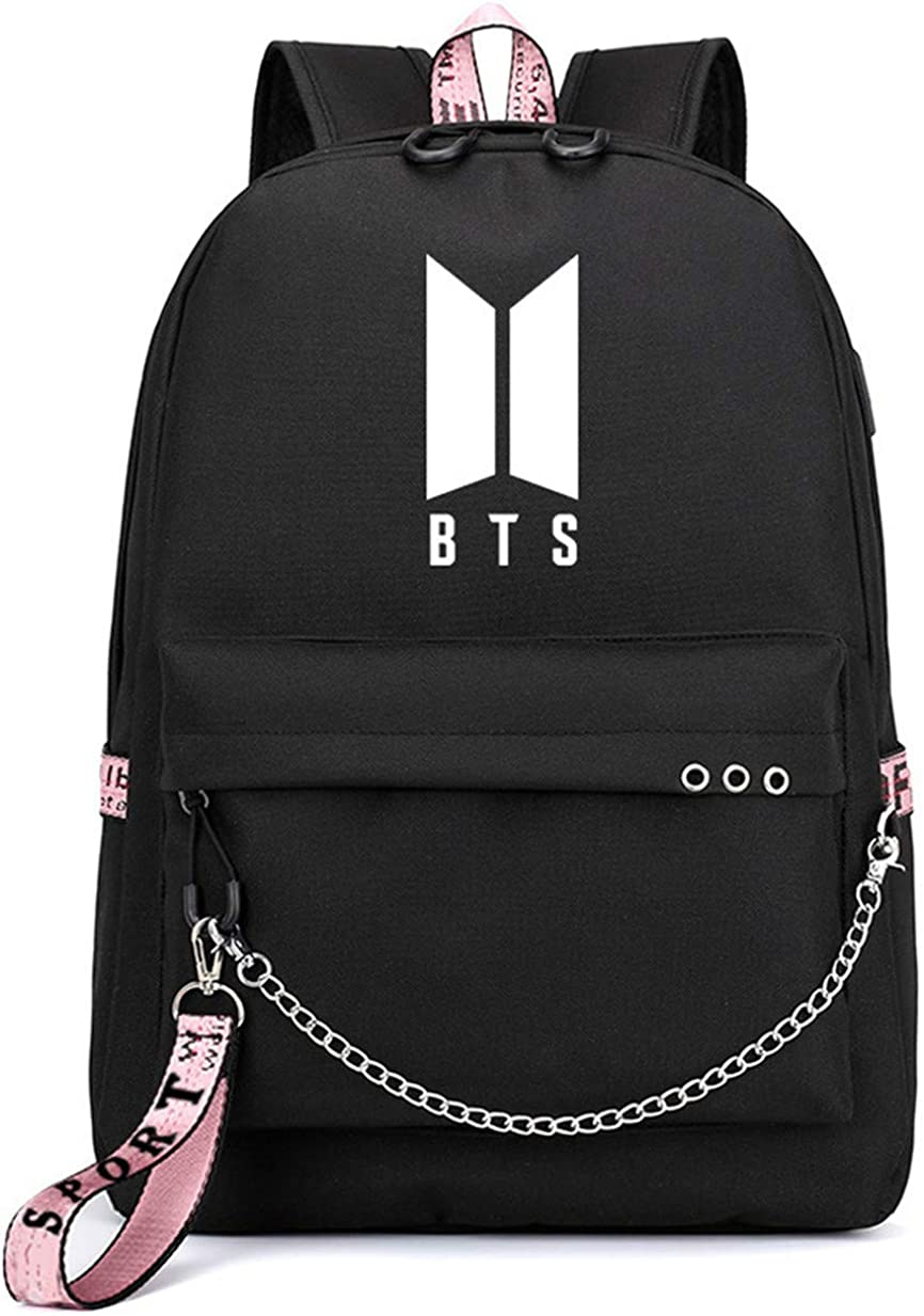 JUSTGOGO KPOP BTS Bangtan Boys Backpack Daypack Laptop Bag College Bag School Bag Bookbag with USB Port
