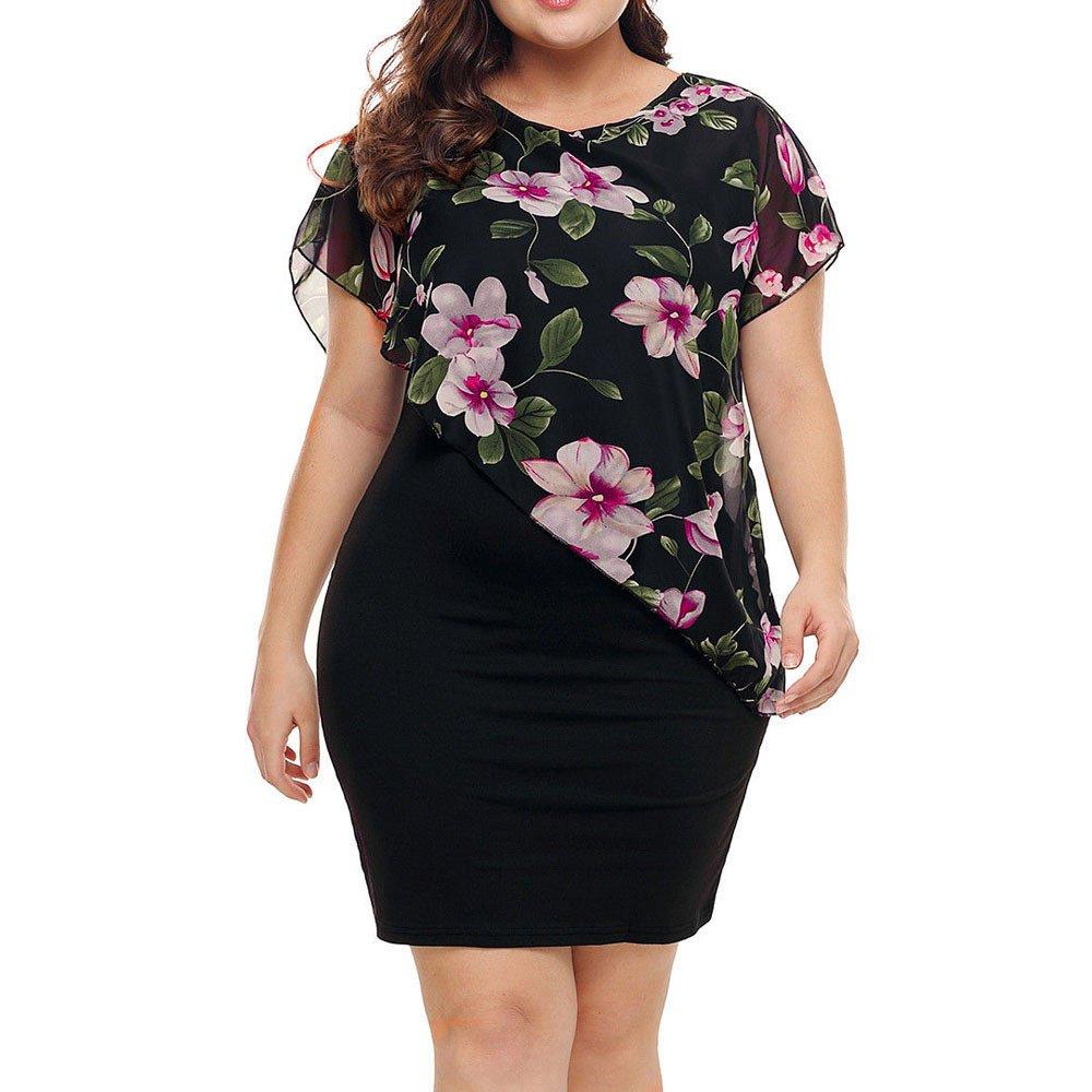 VECDY Kleid Damen Kleiden Sexy Damen Bodycon Floral Sommer Kurzarm Abend Party Stretch Kleid Kleidung Elegant Bluse Tops Pullover Rose drucken