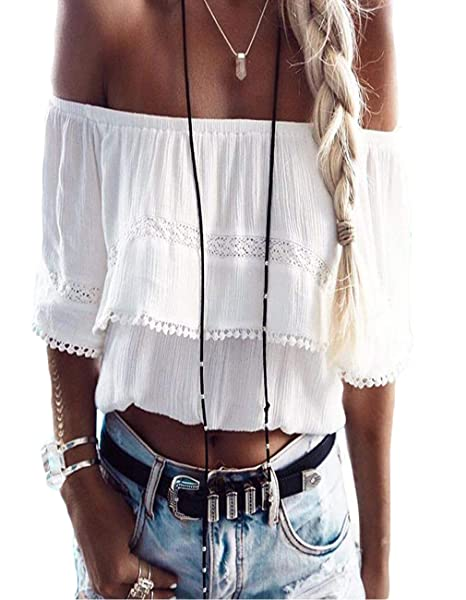 6bc72ae507813 Amazon.com  Defal Women Summer Off Shoulder Lace Shirt Sexy Strapless Crop  T-Shirt Tops for Juniors  Clothing