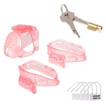 ecmqs macho plástico Pene castidad jaula Cinturón con llave y ...
