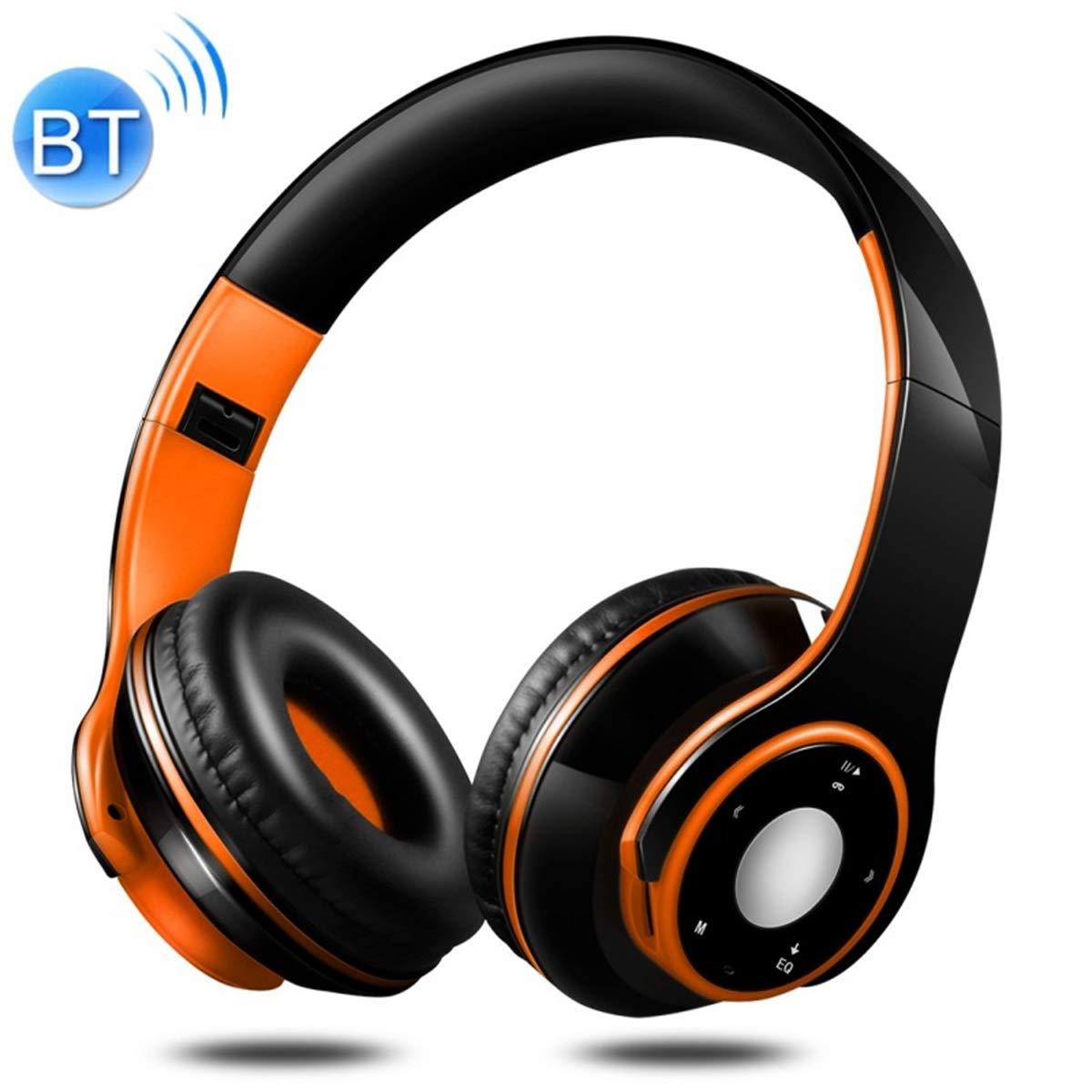 POPUPE SG-8 Bluetooth 4.0 + EDR Headphones Wireless Over-Ear TF Card FM Radio Stereo Music Headset with Mic (Orange)