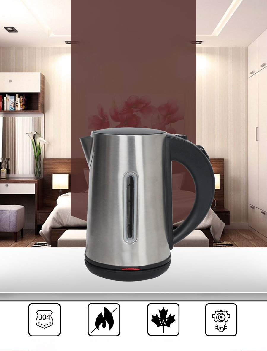 Tourace Electric Kettle Stainless Steel Hot Water Kettle 1200W, Cordless Tea Kettle 1.8 Liter, Auto