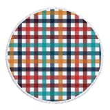 Best Bronze Times Bath Towels - iPrint Thick Round Beach Towel Blanket,Checkered,Colorful Fresh Summertime Review