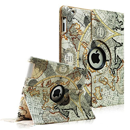 FINTIE (Map Design) 360 Degrees Rotating Stand Smart Cover PU Leather Case for Apple iPad 4th Generation Retina Display / the new iPad 3 / iPad 2 (Wake/sleep Function)