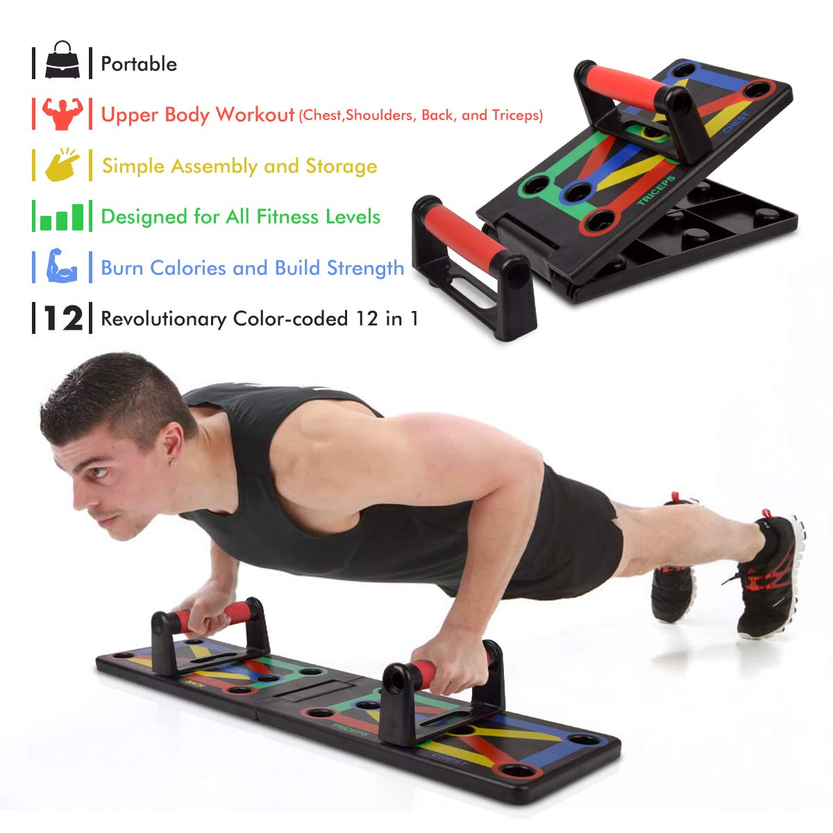 12-in-1 Workout Board Portable Push Up Board Training System for Men Women Home Fitness Training Taytop Push Up Board