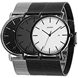 BUREI Unisex Ultra-thin Dress Quartz Watches Elegant Dial Mineral Crystal Soft Milanese Band