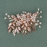 SWEETV Rose Gold Wedding Hair Comb Bridal Hair Accessories Flower Clip Comb Head Pieces for Women